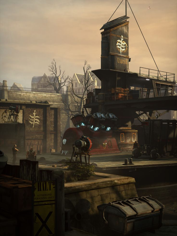 """Dishonored (Arkane Studios, 2012)""""Harbour Of Ill Thoughts (alt version)""""Custom 3:4 and 2:1 aspect ratios @ ~6K, Sunbeam's Cheat Engine table, noclip, timestop, custom FOV."""
