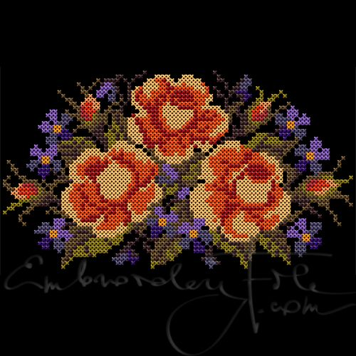 Roses III B. Cross stitched roses. The design is made of 2.4 mm double crosses. Combine with Roses III A.