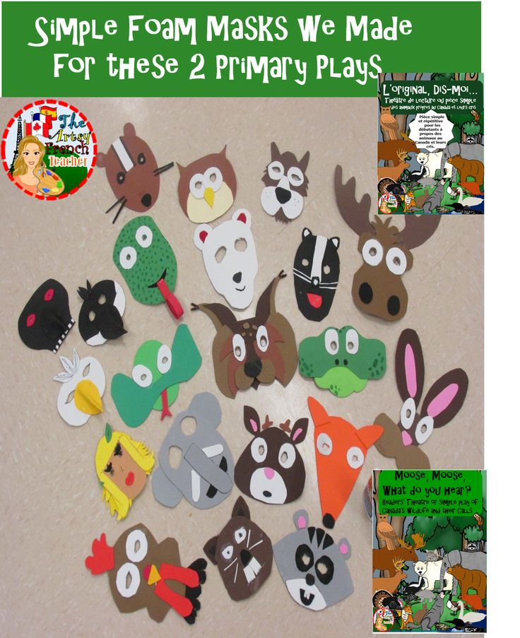 Simple foam masks we made for our presentation of: L'orignal, Dis-Moi...or in English, Moose, Moose, What do you hear? Simple repetitive plays for primary with 22 parts available in English and French to teach Canadian wild animal sounds and names. Good to use with: Characteristics of Living Things or with the SS Canada unit. Complete with performance tips. (masks, pictured only). TPT $