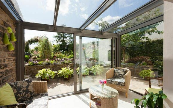 interior sunroom leading to country garden