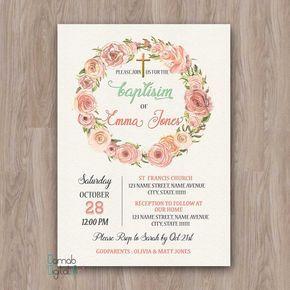 Baptism Invitation Girl, Baptism Invitation Printable, baptism invites, baptism girl invitations, christening girl, girl baptism invitation