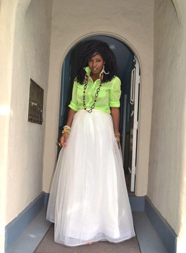 Sheer Neon Shirt + Tulle Princess Skirt