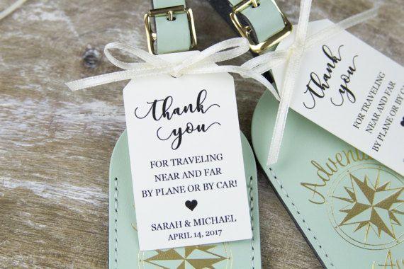 Thank You Tag - Wedding Favor Tag - Luggage Favor Tag - Wedding Favor - Custom Tags - Destination Wedding - MEDIUM Size - 2 5/8 x 1.5 inch