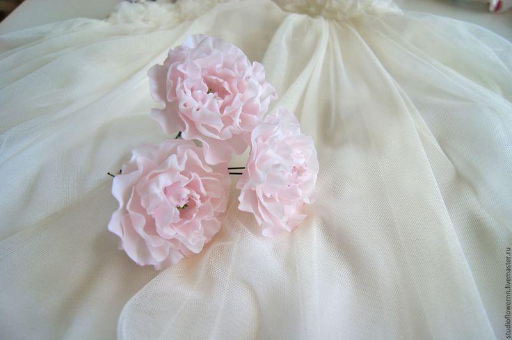 Купить Шпильки для волос розовые пионы - бледно-розовый, пион, пионы, розовый, шпильки для волос