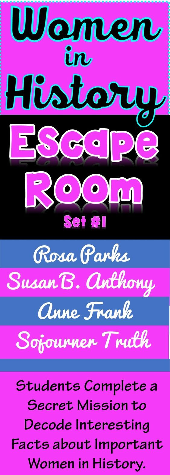 The Women in History Escape Room will take students on a secret mission around the classroom! This escape room has students decode facts about four inspirational women who changed the world. The women included in this resource are: Rosa Parks, Susan B. Anthony, Sojourner Truth and Anne Frank. Students may have heard those names before, but do they understand the impact they made on the world today?