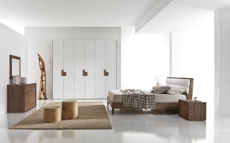 Κρεβατοκάμαρα ΑΡΙΑ από ξύλο αμερικάνικη καρυδιά με επένδυση από λευκό οικολογικό τεχνόδερμα στο κεφαλάρι!  http://www.epiplagand.gr/krevatokamares/aria/