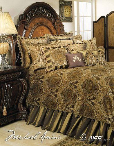 Michael Amini Pontevedra 13 pc King Comforter Set in Olive by AICO >>> To view further for this item, visit the image link.
