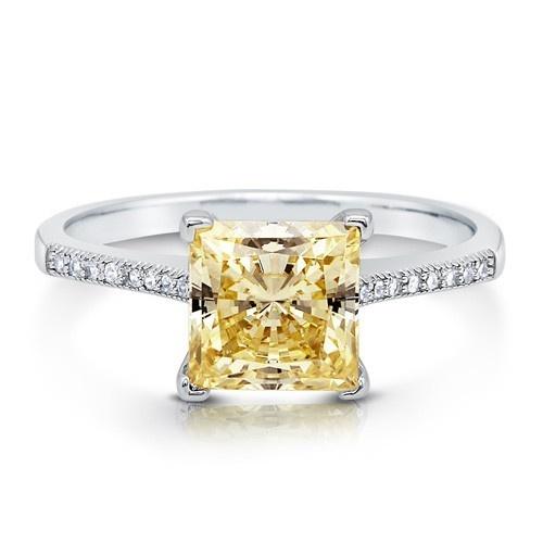 Кольцо с солитером канареечного цвета огранки принцесса с цирконами CZ из стерлингового серебра 1,96 карат UAH 446.71