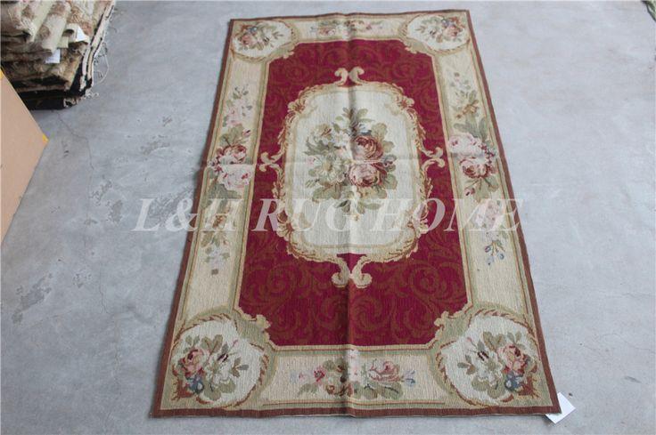 Бесплатная доставка 10 К 3'x5 'небольшой needlepoint ковры ковры шерстяные ковры КРАСНЫЙ цветочный дизайн области ковровые дорожки