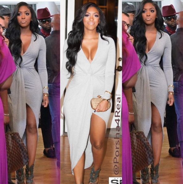 """Vanessa types, """"Hey I loved Porsha's dress from tonight's episode of Real Housewives."""" """" Where can I find one similar?"""" Porsha mixed high and low on last n"""