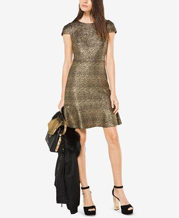 d3337f60707 Michael Kors Metallic-Knit A-Line Dress Women - Dresses - Macy s
