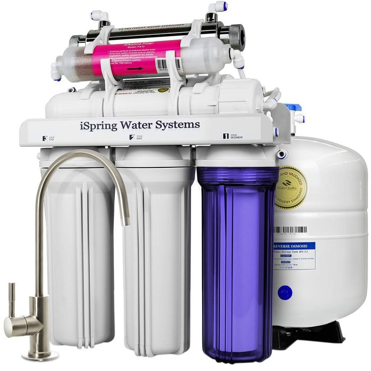 7-Stage Under-Sink Reverse Osmosis Water Filter with Alkaline Remineralization and UV Sterilizer, White