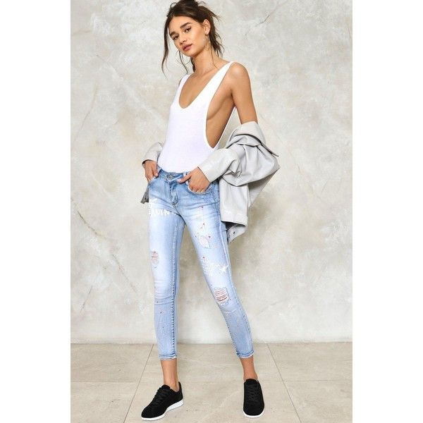 Nasty Gal Graffiti Skinny Jeans ($50) ❤ liked on Polyvore featuring jeans, blue, super skinny jeans, blue jeans, ripped denim jeans, distressed jeans and blue ripped skinny jeans