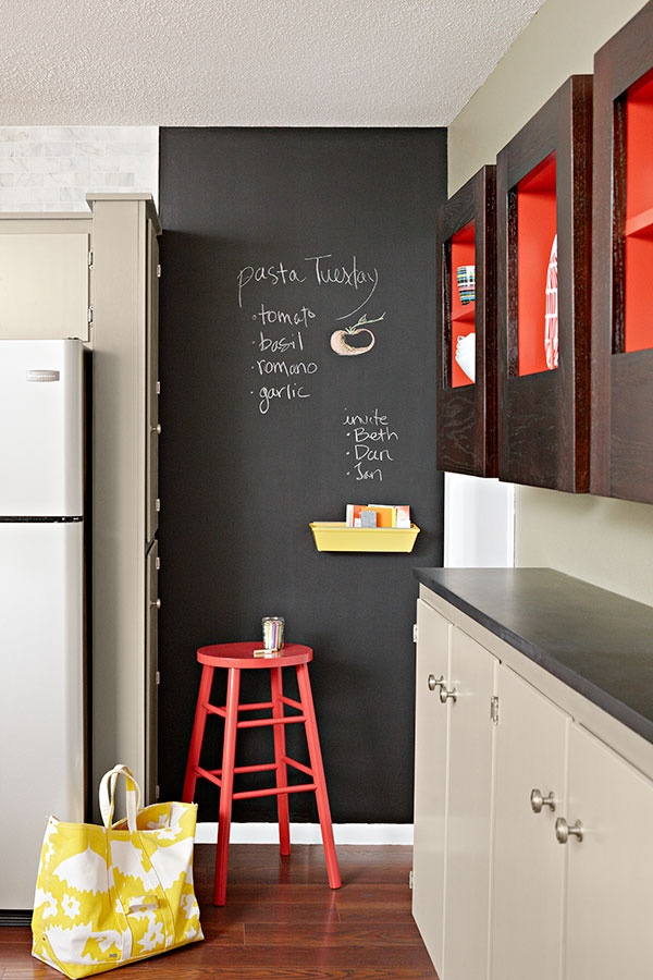 chalkboard accent wall on the wall across from your closet. Leave yourself a calendar, or messages there. Alternative: hang a whiteboard or pinboard.