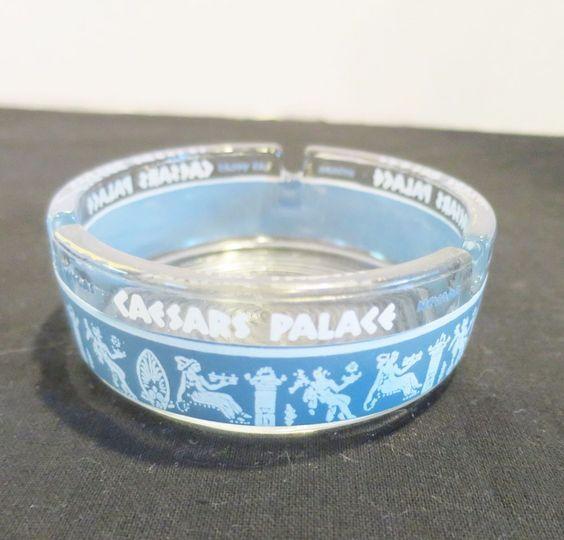 #kookykitsch Vintage Caesars Palace Ashtray Las Vegas Glass Nevada Souvenir Gambling kitsch