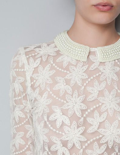 Zara Embroidered Tulle Blouse With Pearls Around Collar 40