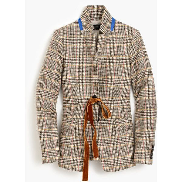 J.Crew Regent blazer in plaid with velvet tie ($228) ❤ liked on Polyvore featuring outerwear, jackets, blazers, j crew jacket, j crew blazer, brown blazer, plaid jacket and fitted blazer jacket