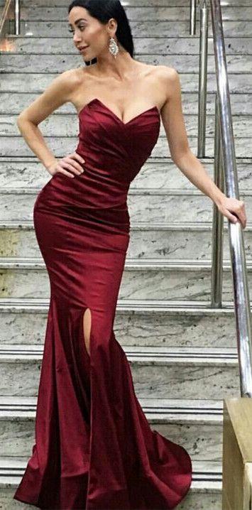 sexy dark red long evening dress, 2017 prom dress, mermaid long prom dress, formal evening dress, party dress, slit prom dress,164