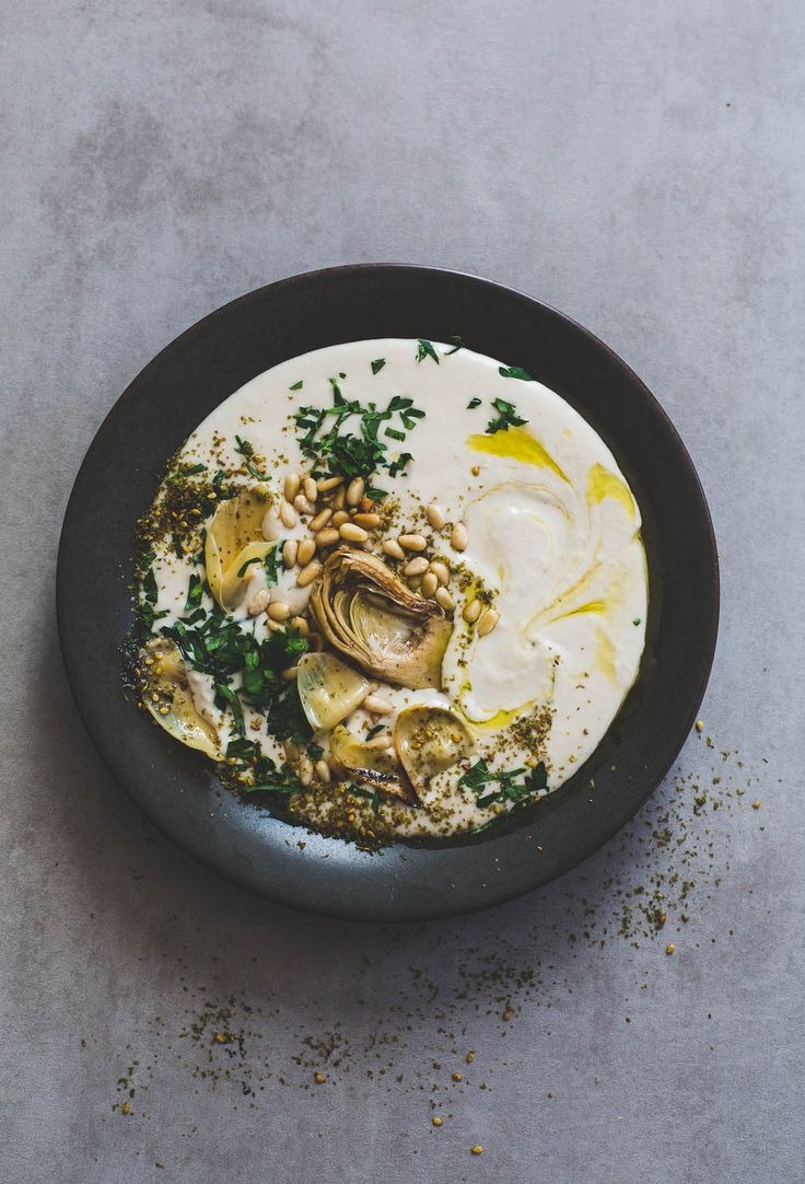 Smoothest White Bean Hummus with Artichokes and Pine Nuts {vegan appetizer}