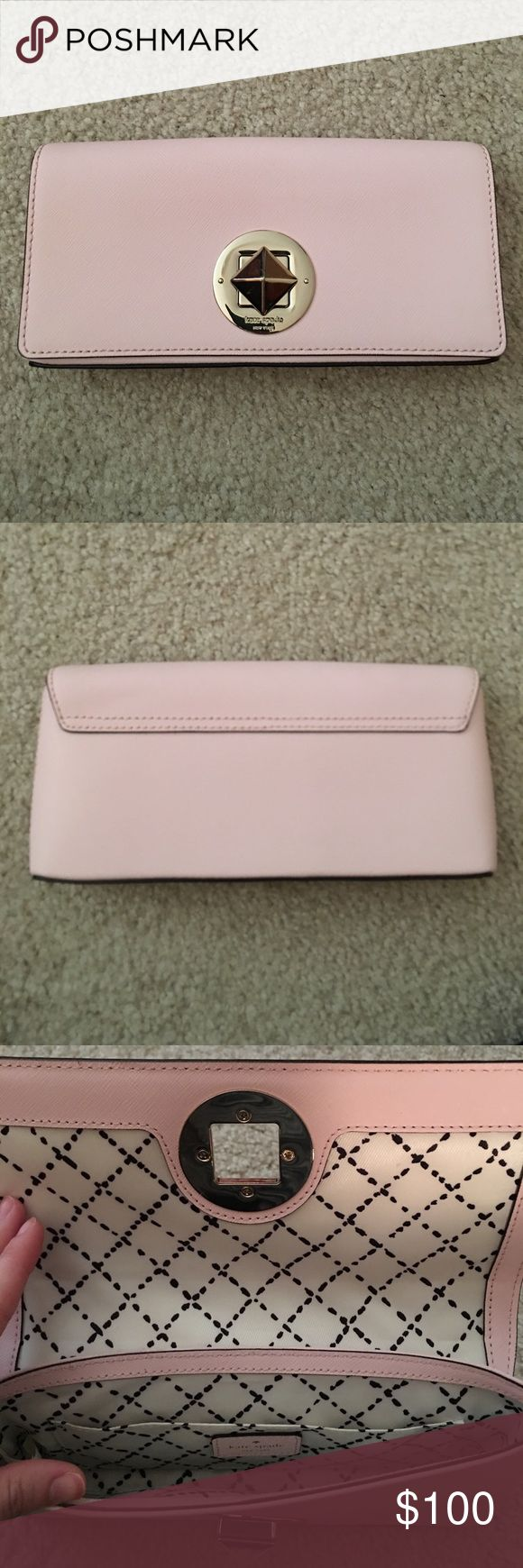 Kate Spade light pink clutch Kate Spade light pink clutch. In very good condition, just some slight scratches on the lock but not noticeable. Only used a few times. kate spade Bags Clutches & Wristlets