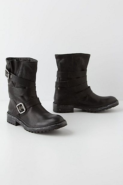 Buckle-Wrapped Moto Boots #anthropologie