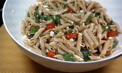 My favorite pasta salad: Pasta with Feta and Roasted Vegetables
