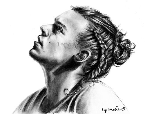Beautiful charcoal drawing of Harry with his braid.