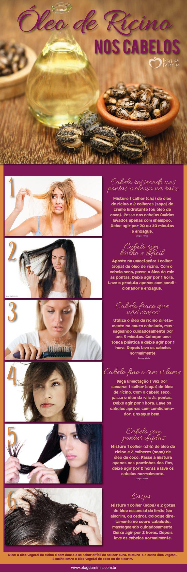 Óleo de rícino nos cabelos: restaura, fortalece e faz crescer - Blog da Mimis #rícino #blogdamimis #infográfico #óleo #vegetal #cabelo