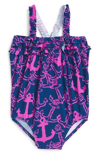 Hatley 'Anchors' One-Piece Swimsuit (Baby Girls)