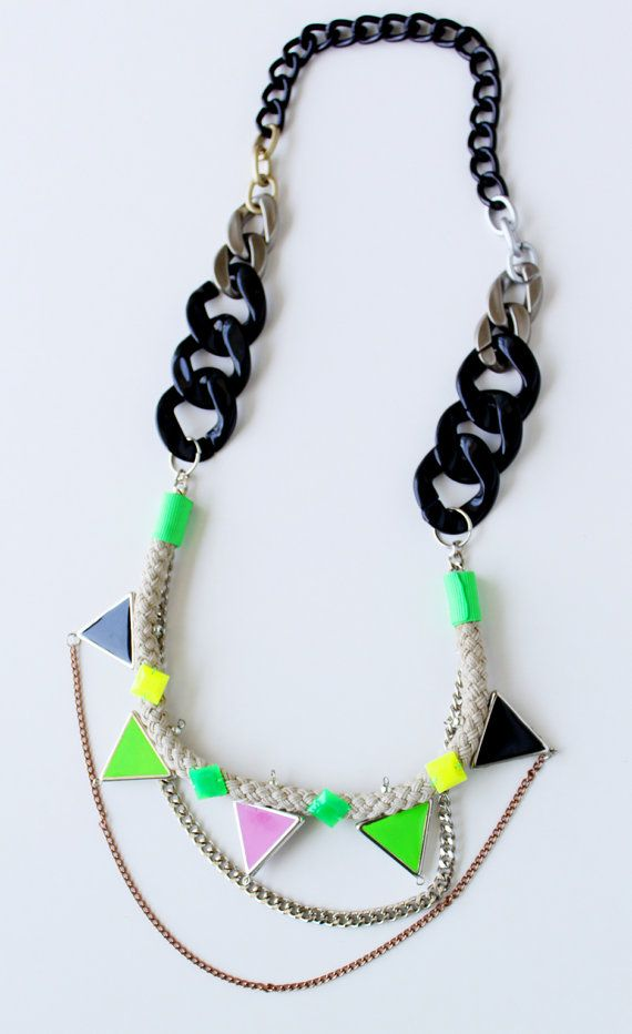 Walukar neon tribal necklace with rope triangles by nutcasefashion, $45.00