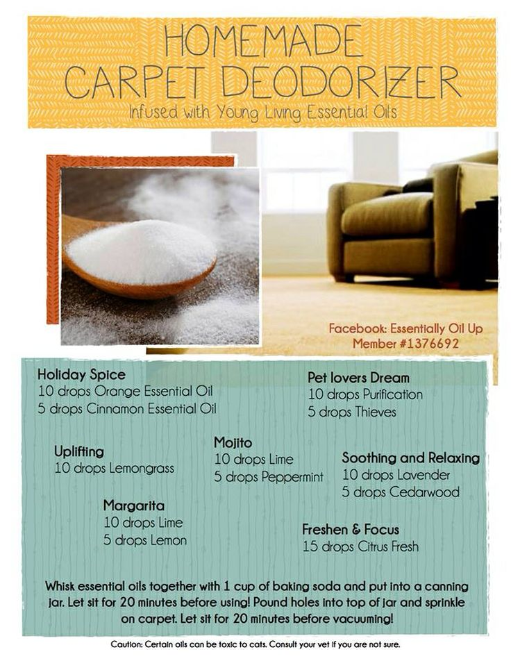 Homemade carpet deodorizer infused with young living essential oils