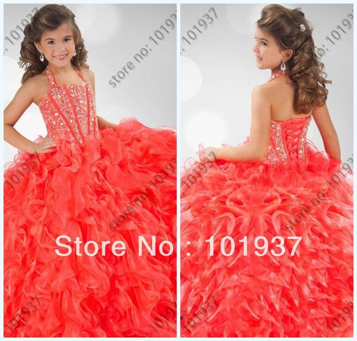 Wholesale Evening Dresses - Buy Halter Red Floor Length Organza Beaded Applique Lace Up Back Ruffle Girl's Ball Gown Pageant Dresses Long, $123.9   DHgate