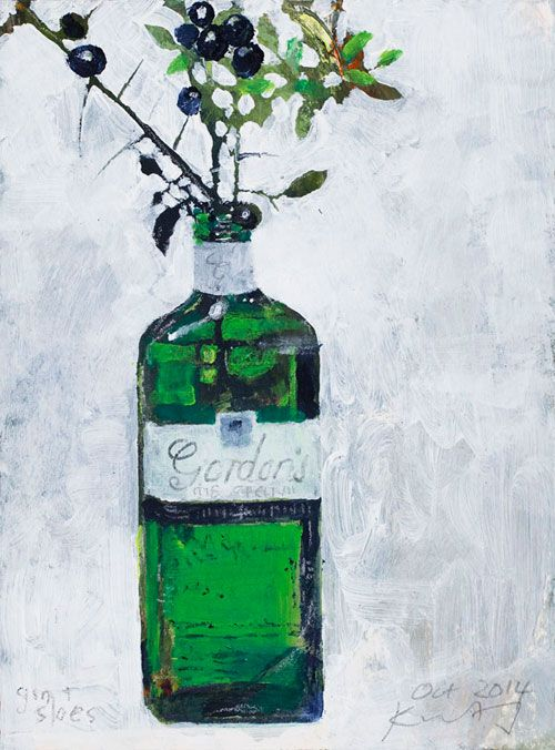 'Gin and Sloes. October 2014' by Kurt Jackson (mixed media on board)