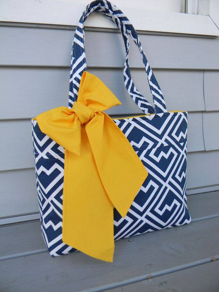 Royal Blue and White  Tote Bag, Every Day Bag, Diaper Bag with a Bright Yellow Bow by CHICBAZAR on Etsy