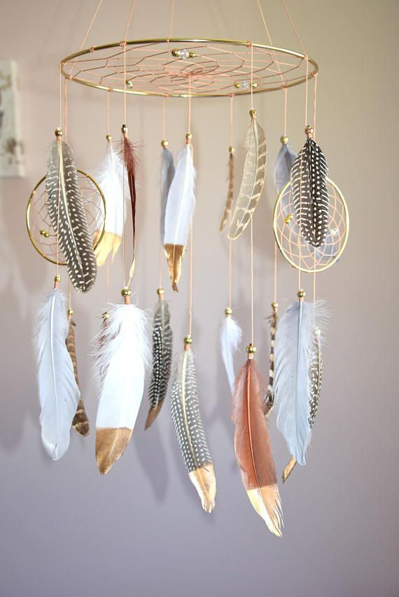 Baby Mobile, Dreamcatcher Mobile, Boho Feather Mobile, Nursery Mobile, Tribal Forest Mobile, Native American Style, Woodland Nursery, This beautiful forest spring baby dream catcher will make all your dreams come true :) This cellphone is perfect for a boy / girl nursery,