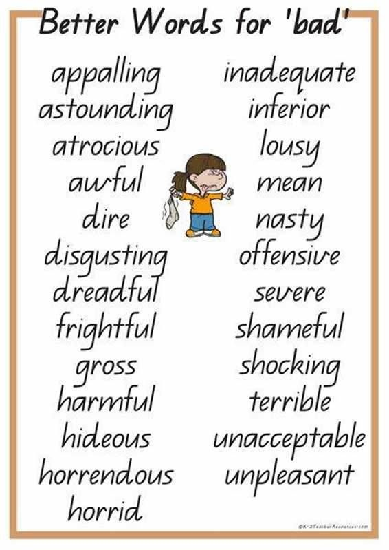 Better words for 'Bad'.