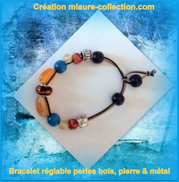 Bracelet réglable perles en pierre, bois et métal. Pièce unique . Création.