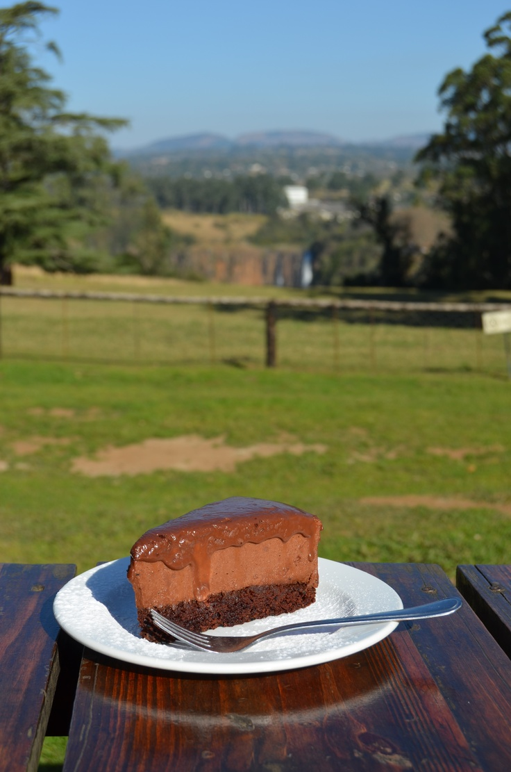 Delicious chocolate mousse cake with a view of the Howick Falls at Yellowwood Café, along the Midlands Meander. http://www.n3gateway.com/things-to-do/food-wine-beer.htm
