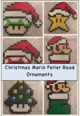 Super Mario Perler Bead Ornaments in time for Christmas!  Visit site for more information