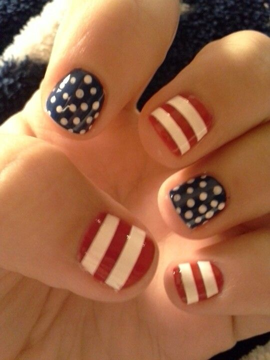 U.S.A flag inspired momorial day/4th of july/veterans day nails