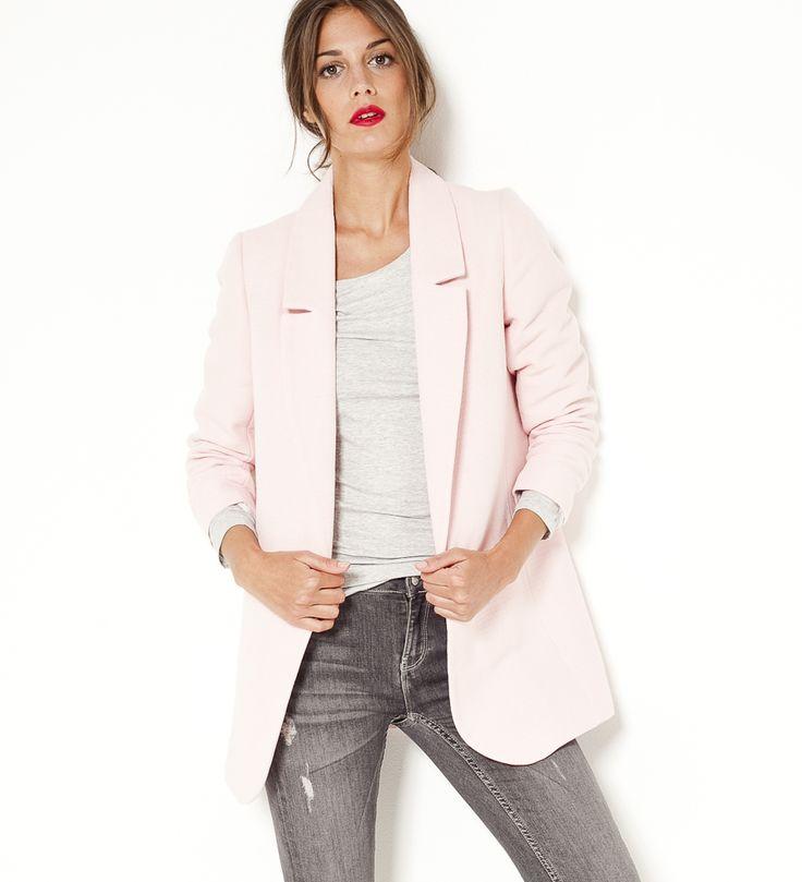 veste blazer femme rose pale les vestes la mode sont populaires partout dans le monde. Black Bedroom Furniture Sets. Home Design Ideas