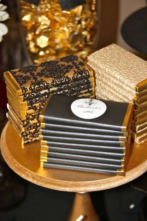 chocolate bar favors in gold wrap