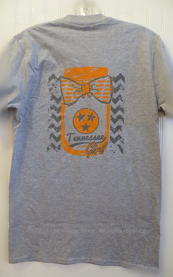 Tennessee Girl with Mason Jar & Bow tee with by TheVillageTinkerTN