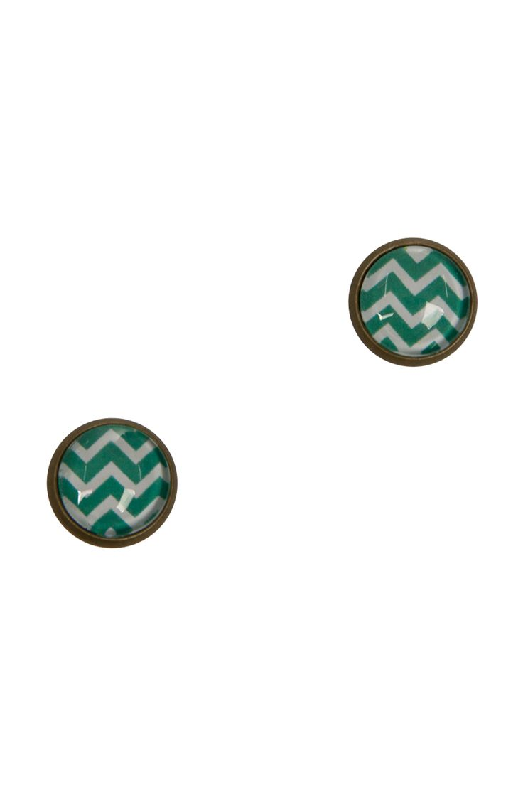 Nest Of Pambula Teal Chevron Stud Earrings