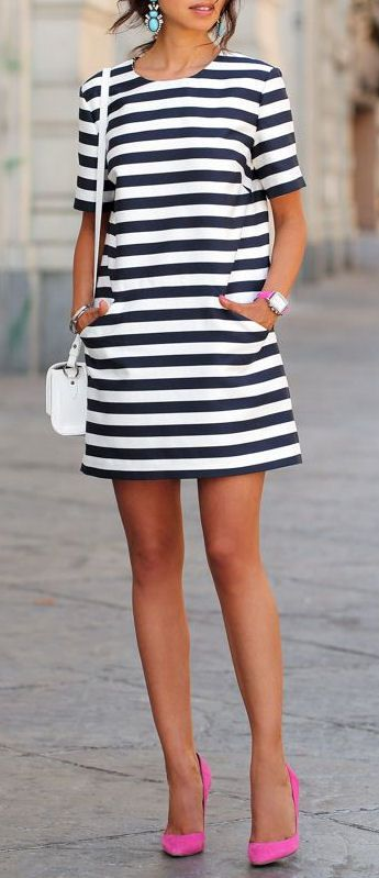 Comfy Cute Stripe Dress ❤︎ #nautical #navy