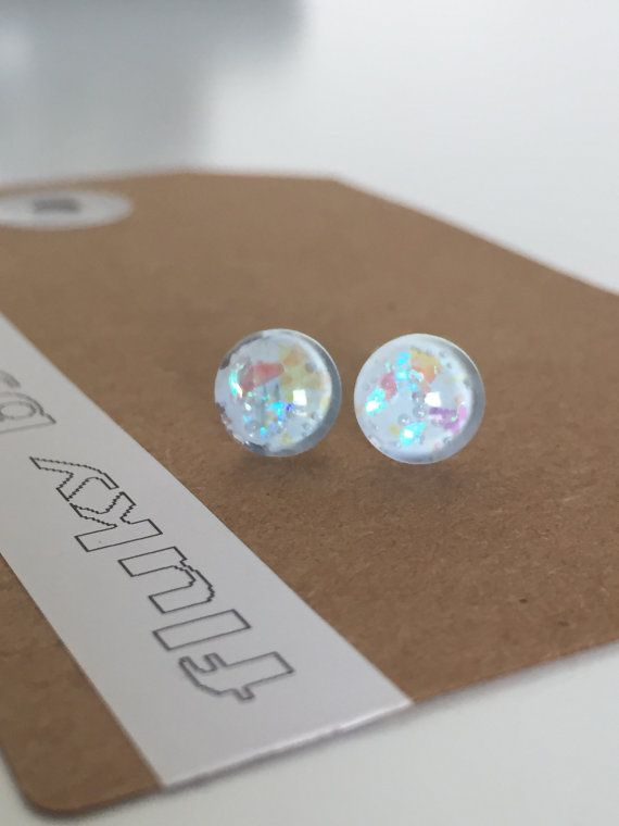Stud earrings. 8mm. Bold bright unique fun by flukybydesign