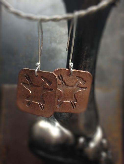 #Copper Greek God Hephaestus dangle earrings on my website #pagan #metalwork #handmade #silversmith #fire #design #handcraftedjewelry #disturbedimaginations   HEPHAISTOS (Hephaestus) was the god of fire, metalworking, stone masonry, forges and the art of sculpture. He was the son of Zeus and Hera and married to Aphrodite by Zeus to prevent a war of the god fighting for her hand. He was a smithing god, making all of the weapons for Olympus and acting as a blacksmith for the gods.