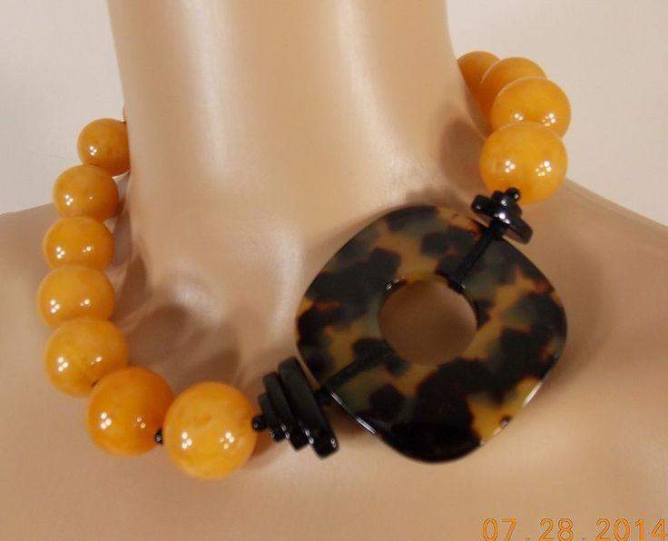 Angela Caputi Italy signed tortoise sim egg yolk amber black lg beaded necklace  #ANGELACAPUTI #CHOKERNECKLACE