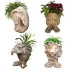 Muggly Mascot Small Animal Statue Planters (Lion, Eagle, Bulldog, Elephant) (4-Pack) Assortment #2