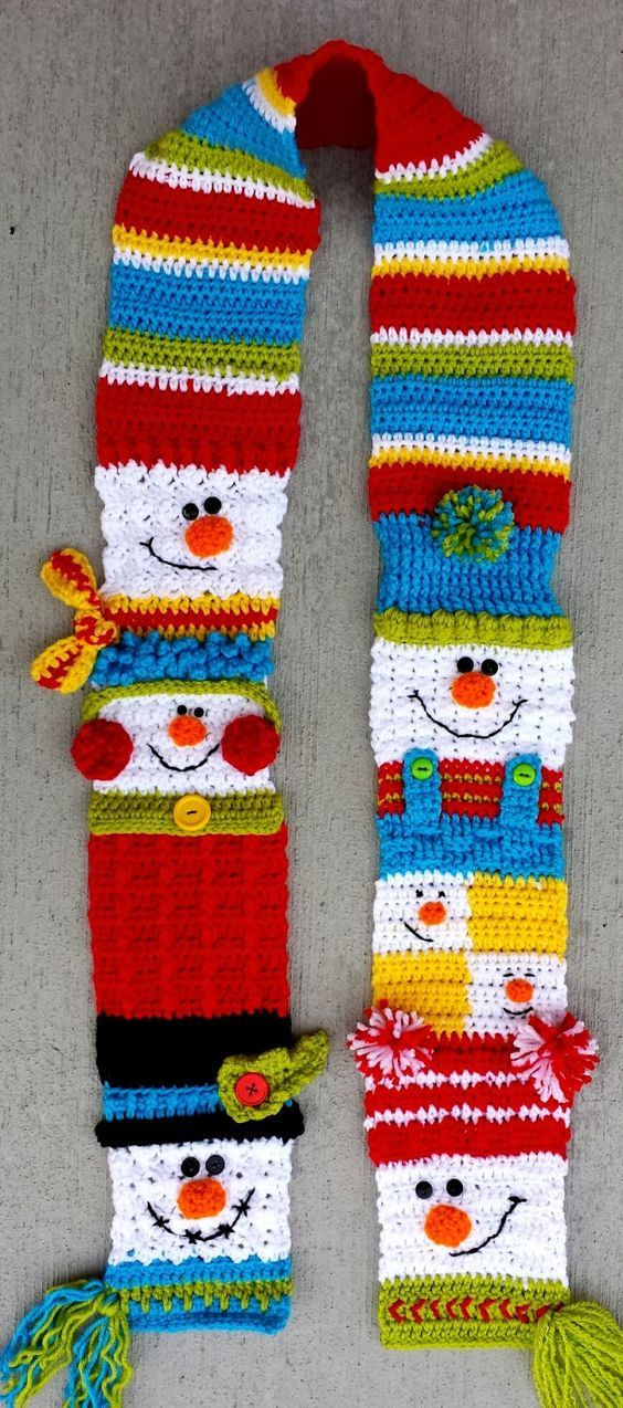 Snowman Sampler Scarf - pattern for purchase on Ravelry